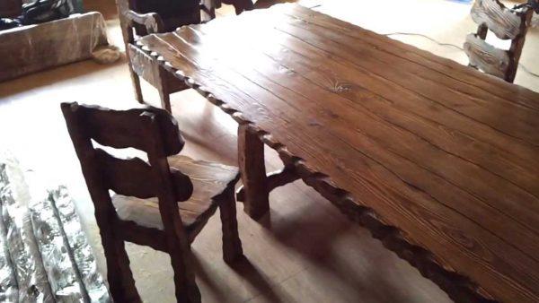 Где купить стол и стулья деревянные под старину