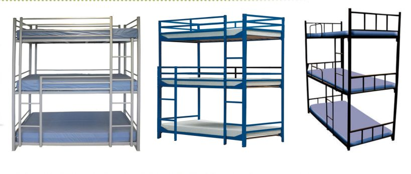 Трехъярусные металлические кровати оптом